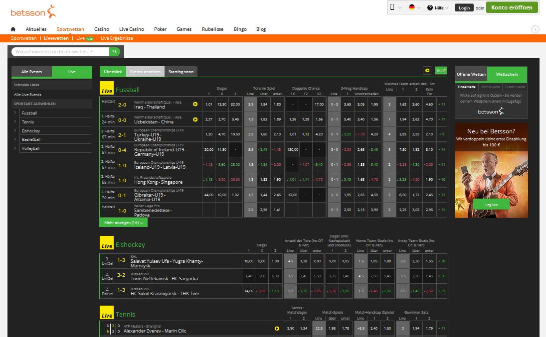 Betsson Casino Sportwetten - 39985